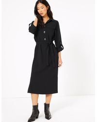 Marks & Spencer - Crepe Belted Midi Shirt Dress - Lyst