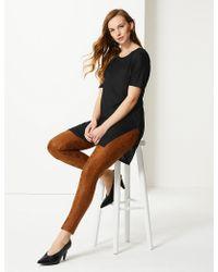 Marks & Spencer - Round Neck Longline Short Sleeve Top - Lyst