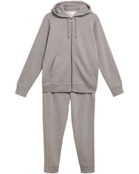 Marks & Spencer Pure Cotton Zip Up Hoodie & Joggers Set - Grey