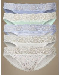Marks & Spencer - 5 Pack Cotton Rich Lace Waisted Bikini Knickers - Lyst