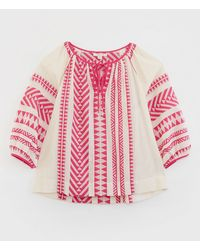 Marks & Spencer White Stuff Pure Cotton Jacquard Relaxed 3/4 Sleeve Top - Pink