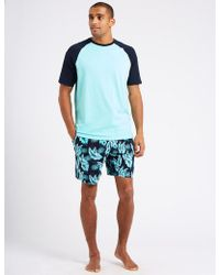 Marks & Spencer - Pure Cotton Printed Pyjama Shorts Set - Lyst