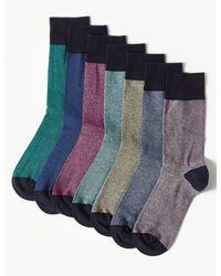 Marks & Spencer 7 Pack Cool & Freshfeettm Cotton Rich Socks Multi - Blue
