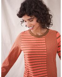 Marks & Spencer White Stuff Pure Cotton Striped Long Sleeve Top - Orange