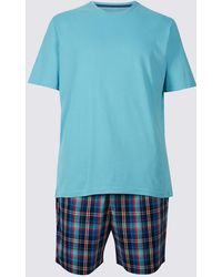 Marks & Spencer - Pure Cotton Checked Pyjama Shorts Set - Lyst