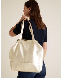 Marks & Spencer Leather Metallic Tote Bag