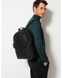 Marks & Spencer Leather Pocket Backpack - Black