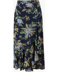 Marks & Spencer - Floral Print Pretty Ruffle Midi Skirt - Lyst