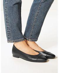 Marks & Spencer Wide Fit Leather Almond Toe Pumps - Black