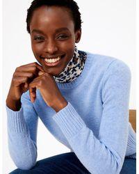Marks & Spencer - Wool Rich Round Neck Jumper Medium Blue - Lyst