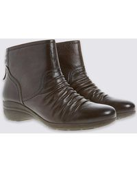 Marks & Spencer - Leather Wedge Tassle Ruched Ankle Boots - Lyst