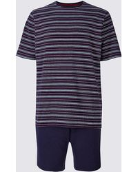 Marks & Spencer - Pure Cotton Striped Pyjama Short Set - Lyst