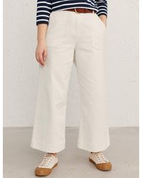 Marks & Spencer Seasalt Cornwall Cotton Wide Leg Cropped Trousers - White
