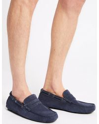 Marks & Spencer Suede Driving Shoes With Stain Resistant - Blue