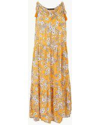27d976296cbc Marks & Spencer - Floral Print Crinkle Slip Beach Dress - Lyst