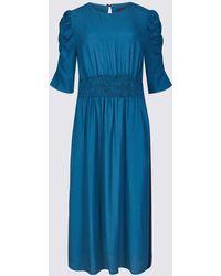 Marks & Spencer - Half Sleeve Waisted Midi Dress - Lyst