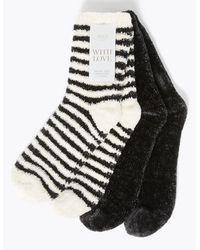 Marks & Spencer 2 Pair Pack Cozy Slipper Socks Black Mix