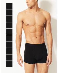 Marks & Spencer 10 Pack Cool & Freshtm Stretch Cotton Hipsters Black