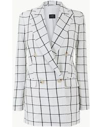 d412e3b63d1 Marks & Spencer - Pure Linen Checked Double Breasted Blazer - Lyst