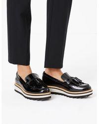 Marks & Spencer Leather Tassel Flatform Loafers - Black