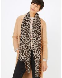 Marks & Spencer Leopard Print Scarf - Brown