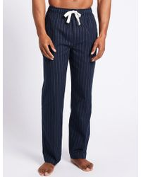 Marks & Spencer - Pure Cotton Striped Long Pyjama Bottoms - Lyst