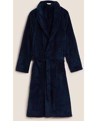 Marks & Spencer Longer Length Supersoft Dressing Gown - Blue
