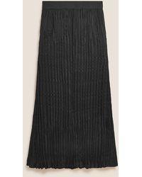Marks & Spencer Autograph Plisse Pleated Maxi Slip Skirt - Black