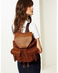 Marks & Spencer Ring Backpack Bag Natural Mix - Brown