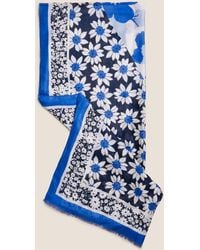 Marks & Spencer Floral Scarf With Modal - Blue