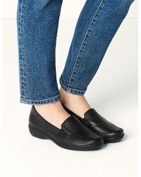 Marks & Spencer Wide Fit Leather Wedge Heel Loafers - Black