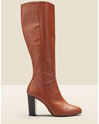 Marks & Spencer Sosandar Leather Block Heel Knee High Boots - Blue