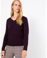 Marks & Spencer - Wool Rich V-neck Jumper Mulberry - Lyst