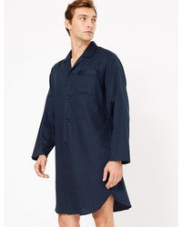 Marks & Spencer Pure Cotton Polka Dot Nightshirt - Blue
