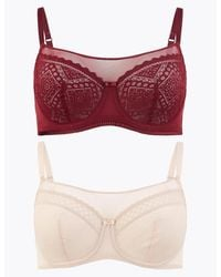 Marks & Spencer 2 Pack Mesh Lace Panel Balcony Bras A-g - Multicolor