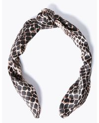 Marks & Spencer Animal Print Structured Hair Band - Brown