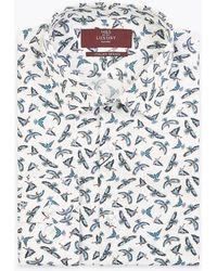 Marks & Spencer Tailored Fit Italian Design Bird Print Shirt - White