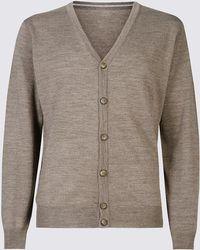 Marks & Spencer Merino Wool Blend Tailored Fit Cardigan - Grey