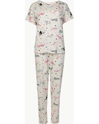 Marks & Spencer - Cotton Rich Animal Print Pyjama Set - Lyst