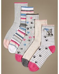 Marks & Spencer - 5 Pair Pack Sumptuously Soft Ankle High Socks - Lyst
