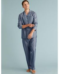 Marks & Spencer Cotton Pajama Set - Blue