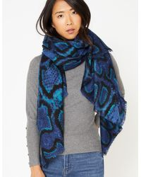 Marks & Spencer Snake Print Scarf - Blue