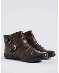 Marks & Spencer - Wide Fit Leather Wedge Ruched Ankle Boots - Lyst