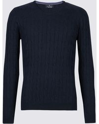 Marks & Spencer Cotton Rich Cable Knit Jumper - Blue