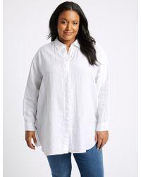 Marks & Spencer - Curve Pure Linen Long Sleeve Shirt - Lyst