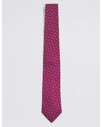 Marks & Spencer Pure Silk Cube Geometric Tie - Purple