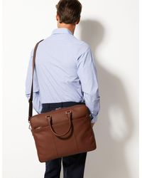 Marks & Spencer Leather Single Briefcase - Brown