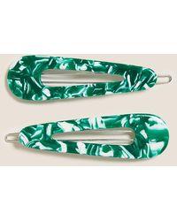 Marks & Spencer 2 Pack Tortoiseshell Print Hair Clips - Green