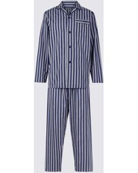 813708041a Marks   Spencer Big   Tall Pure Brushed Cotton Pyjama Set in Blue for Men -  Save 23% - Lyst