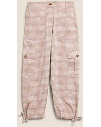 Marks & Spencer Tm Cargo Camo Cropped Trousers - Pink